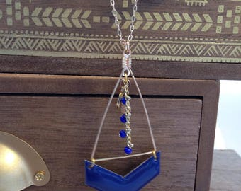 Royal Blue and gold plated necklace