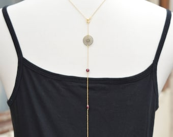 Back metal jewelry necklace, beads Murano model purple rosette M49