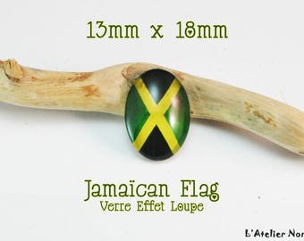 "Glass cabochon featuring 13mm x 18mm ""Jamaïcan Flag"""