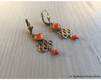 Josephine  art deco earrings with carnelian