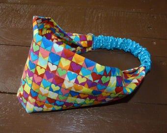 Multicolored hearts elastic girl headband/headscarf