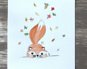Original illustration with watercolor Fox under the leaves