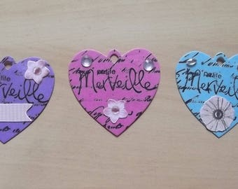 3 tags hearts for your scrapbooking creations.