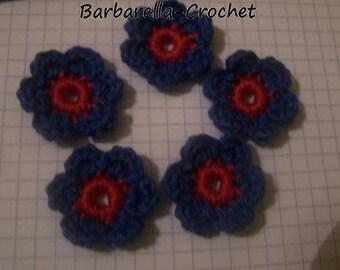 Applique crochet cotton flowers thick blue red