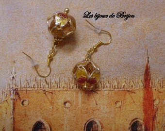 Raspberry and gold earrings in metal cage cloisonné bead