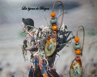 Rustic earrings enameled metal and Czech bead orange and green