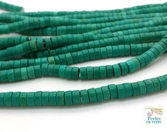 30 sinkiang turquoise/green, 3x6mm rondelle (ph157) heishi beads