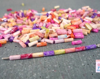 20 g fine multicolored seed beads, 2x4mm = approximately 800 beads (roc10)