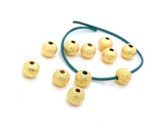10 stardust beads 6mm Golden brass nickel free (pm204)