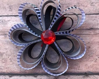 Black and Red Flower Hair Bow