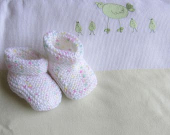 Speckled white baby booties