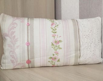 """Cushion handmade 48 x 25 """"broderie anglaise"""" old Pink White beige stripes flowers buttons Shabby Chic french"""