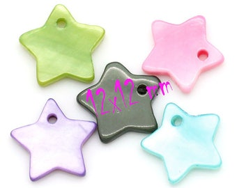 5 charms star shell 12mm x 12mm mix color