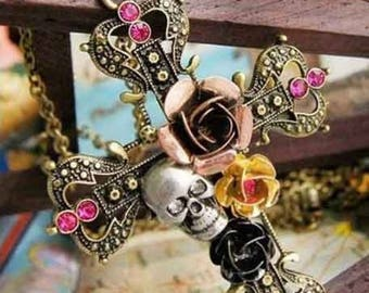 1 rare pendant with a cross Skull and rose 7 cm