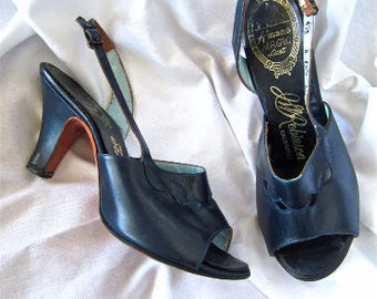 5.5B 50s Navy Blue Strappy Heels by Amano JWR Robinson California Vintage Shoes Pumps Sandals Small 5 1/2