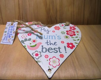 PLATED METAL-LARGE HEART - TO HANG 12CM