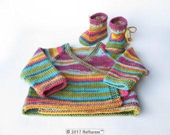 Ensemble bébé multicolore en coton tricoté main