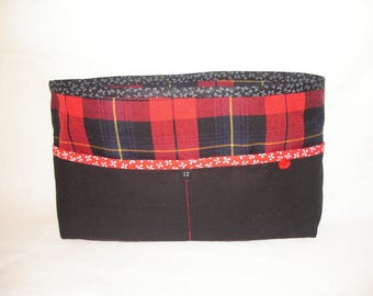 cotton black and red tartan bag Organizer