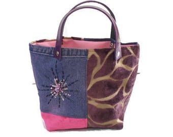 Purple denim, pink and purple velvet tote bag