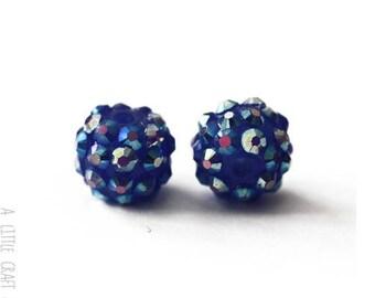 """3 """"shamballa"""" 12mm - dark blue rhinestone beads"""