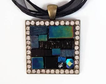 Mosaic collection black Chic rhinestone necklace
