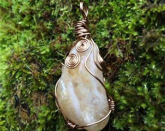 Citrine Spirals Wire Wrap Pendant / Crystal Jewelry Necklace / Solar Plexus Chakra Reiki Abundance