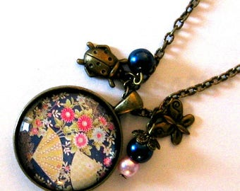 Necklace jewel cabochon 30mm * Japanese garden *.