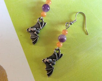 Silver plated Bat-charm earrings – Halloween – Gothic