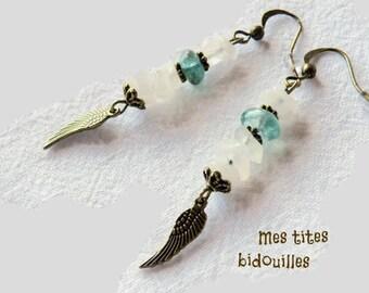 Angel Wings earrings * stones and BRONZE * Moonstone