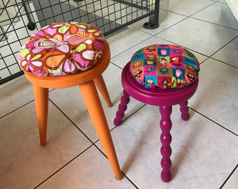 Restored wooden stool / Orange Girly