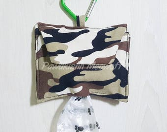 Dogs, pets, poo bag holder pouch with additional compartment, camo theme handmade, custom made from pawdkishh meowoof