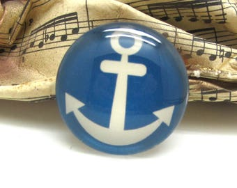 2 cabochons 16 mm glass blue anchor sailor spirit - 16 mm
