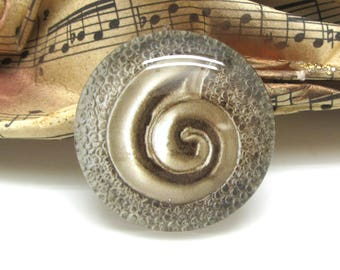 2 cabochons 16 mm glass antique spiral gold - 16 mm