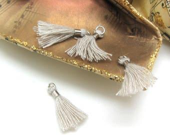 Set of 2 Mini tassels Textile Beige silver clip - 1.8 cm