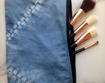 Shibori zipper pouch with shark print lining