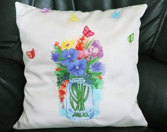 embroidered Cushion cover 40cm x40cm 3D butterflies