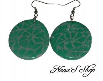 Polymer clay, green and grey round earrings