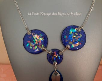 3 pucks Dichro is purple glitter and resin necklace