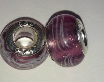 Silver 925 14mm x 10mm purple glass bead Lampwork