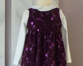 sparkling Burgundy millerais velvet pinafore dress