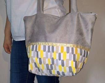 Large elegant bimaterial tote bag and pratiquejaune and gray