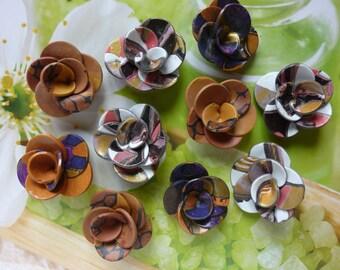 SELECTION OF 10 FLOWERS CREATION FIMO TANGERINE DESTASH