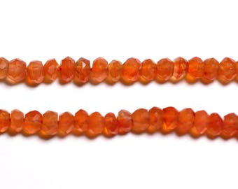 20pc - stone - carnelian faceted 3x2mm - 4558550090263 beads