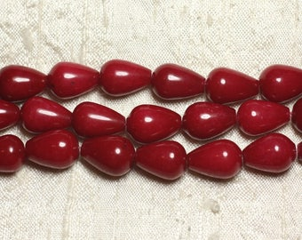 Stone - Jade drops red 14x10mm beads 1 strand 39cm