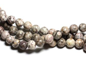 10pc - stone beads - Ocean fossil Jasper balls 10mm - 4558550039804