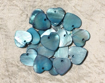 10pc - Pearls Pearl 18mm blue 4558550000033 hearts charms