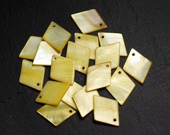 10pc - beads 21mm 4558550014931 yellow diamonds Pearl charms