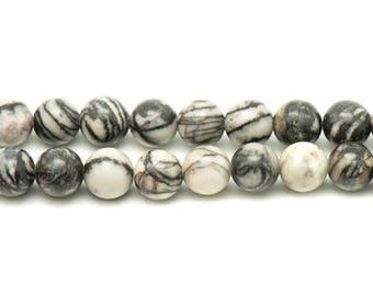 5pc - stone beads - Zebra Jasper 10mm 4558550032430 balls