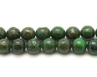 5pc - stone beads - green Pyrite balls 8mm 4558550037589