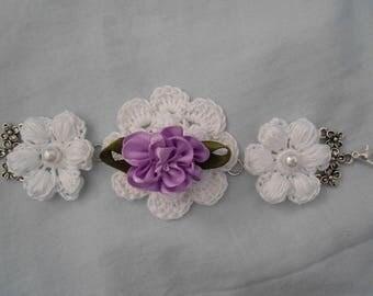 violet flower crochet bracelet